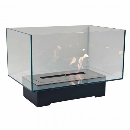 Nowoczesny biokominek podłogowy ze szkła i stali lub Corten - Bradley