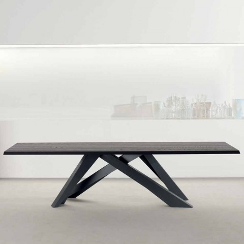 Stół z drewna stołowego Bonaldo Big Table wykonany z litego antracytu, wykonany we Włoszech