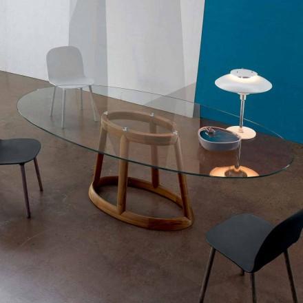 Bonaldo Greeny stół owalny z drewna i szkła made in Italy