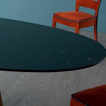Stół owalny Bonaldo Greeny w marmurze Marquinia wykonany we Włoszech