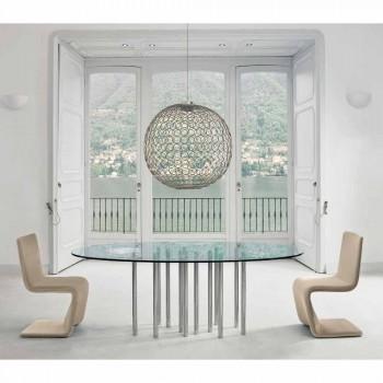 Okrągły stolik Bonaldo Mille ze stali chromowanej i kryształowej wykonany we Włoszech