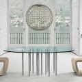 Bonaldo Mille stół okrągły z kryształu i stali chrom made in Italy