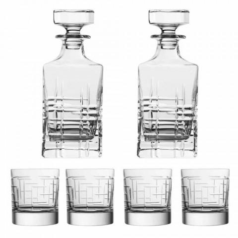 Butelka i szklanki do luksusowej whisky z ekologicznego kryształu 6 sztuk - Arytmia