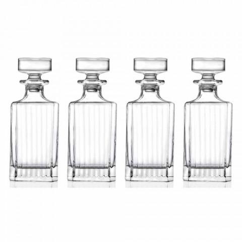 4-częściowe kwadratowe butelki do whisky Eco Crystal - Senzatempo