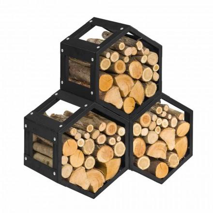 Esagono Nero pojemnik na drewno stal design do wnętrz Made in Itali