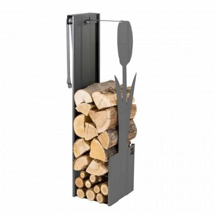 Wewnętrzny czarny uchwyt do drewna z nowoczesnym wzornictwem i narzędziami - Maestrale3
