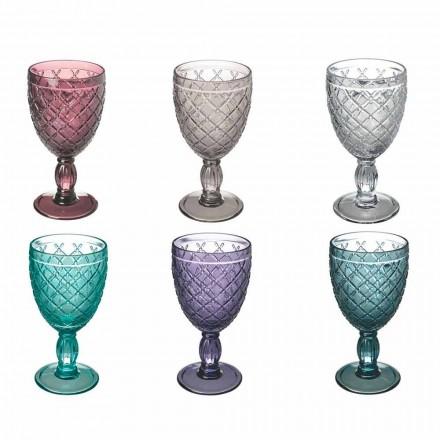 Kielich do wina lub wody z kolorowego lub przezroczystego szkła z dekoracjami, 12 sztuk - Rocca