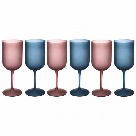 Kolorowe kieliszki do wina z matowego szkła z efektem lodu 12 sztuk - Norvegio