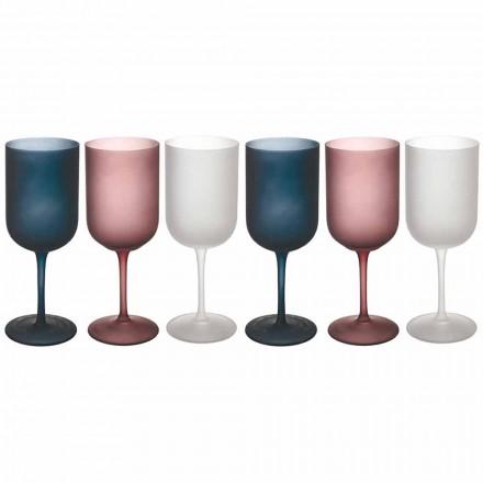 Kieliszki do wina z matowego szkła z efektem żwiru, 12 sztuk - jesień