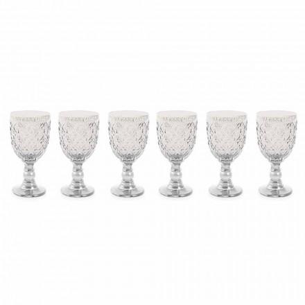 Przezroczyste szklane kieliszki do wina z dekoracją arabeskową 12 sztuk - Maroko