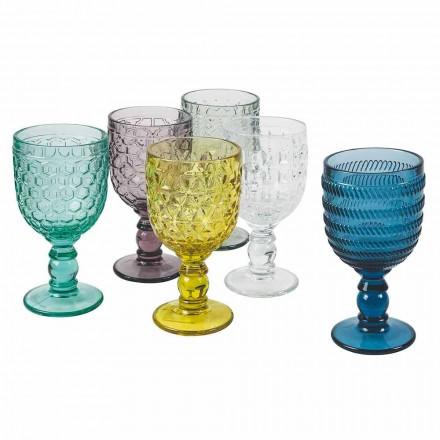 Kieliszki do wody lub wina zdobione kolorowym szkłem 12 sztuk - mix