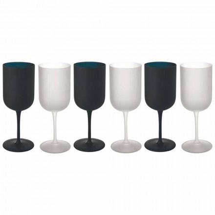 Kieliszki z matowego szkła Serwis do białego i czarnego wina 12 sztuk - Norvegiomasai