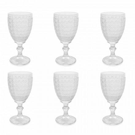 Kieliszki do wina z przezroczystego szkła i ozdoby reliefowe, 12 sztuk - Aperi