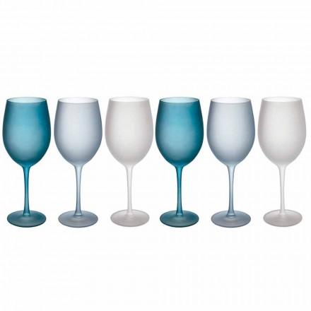 Kolorowe kieliszki do wina z matowego szkła z efektem lodu, 12 sztuk - jesień