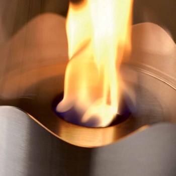 Bioetanol Kominek ze stali nierdzewnej i szkła stołowego Leon, wykonane we Włoszech