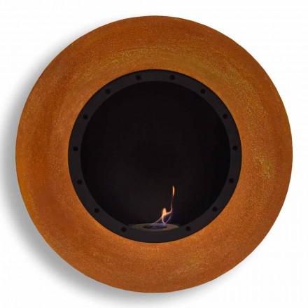 Okrągły ścienny kominek na bioetanol z malowanej stali - Trenton