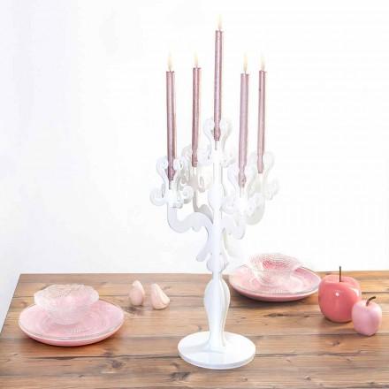 Klasyczny średniej wielkości świecznik, 5 ramion w pleksi, Aragona