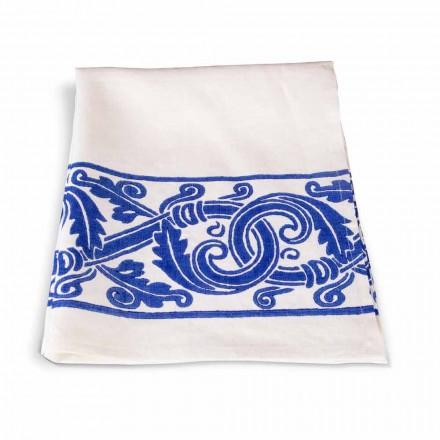Włoska ręcznikowa ściereczka lniana z ręcznie drukowanym rysunkiem