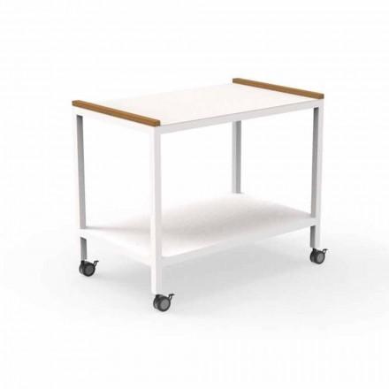 Zewnętrzny wózek kuchenny z aluminium i drewna tekowego 2 półki - Cart by Talenti