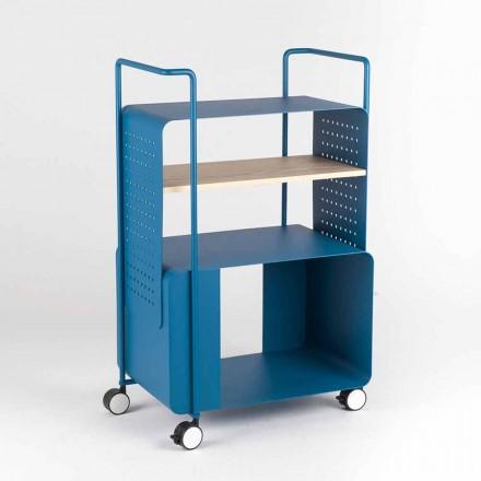 Designerski wózek ze stali z jesionowym blatem Made in Italy - Murella