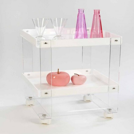 Designowy wózek na żywność z 2 półkami w pleksi, Diso