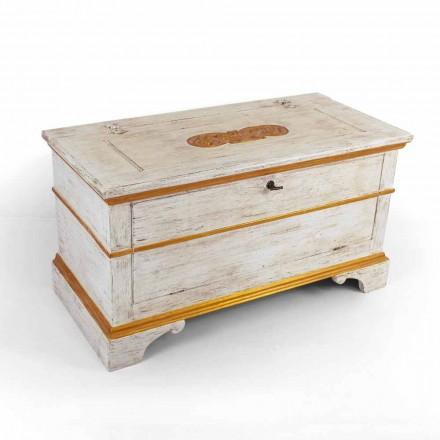 Komoda wykonana ręcznie z litego drewna ze złotymi profilami Made in Italy - Caio