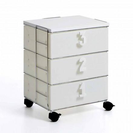 Mała komoda biała na kółkach z szufladami model Yodi