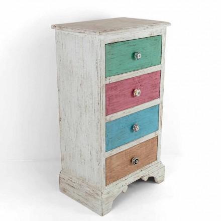 Komoda rzemieślnicza z 4 szufladami z białego drewna Made in Italy - Manhattan