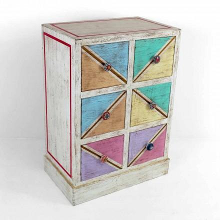 Ręcznie wykonana drewniana komoda z kolorowymi szufladami Made in Italy - Brighella