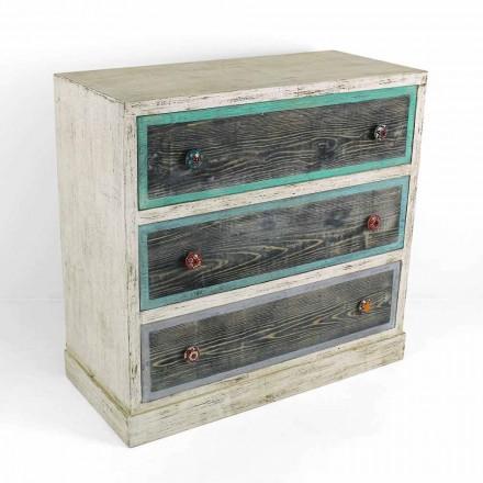 Komoda rzemieślnicza z drewna jodłowego z 3 szufladami Made in Italy - Monkey