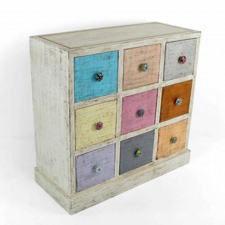 Komoda rzemieślnicza z litego drewna z 9 szufladami Made in Italy - Pierrot