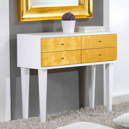 Komoda design biała z 4 szufladami Etty, made in Italy