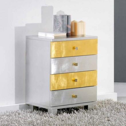 Komoda drewniana w kolorze złota i srebra model Etty