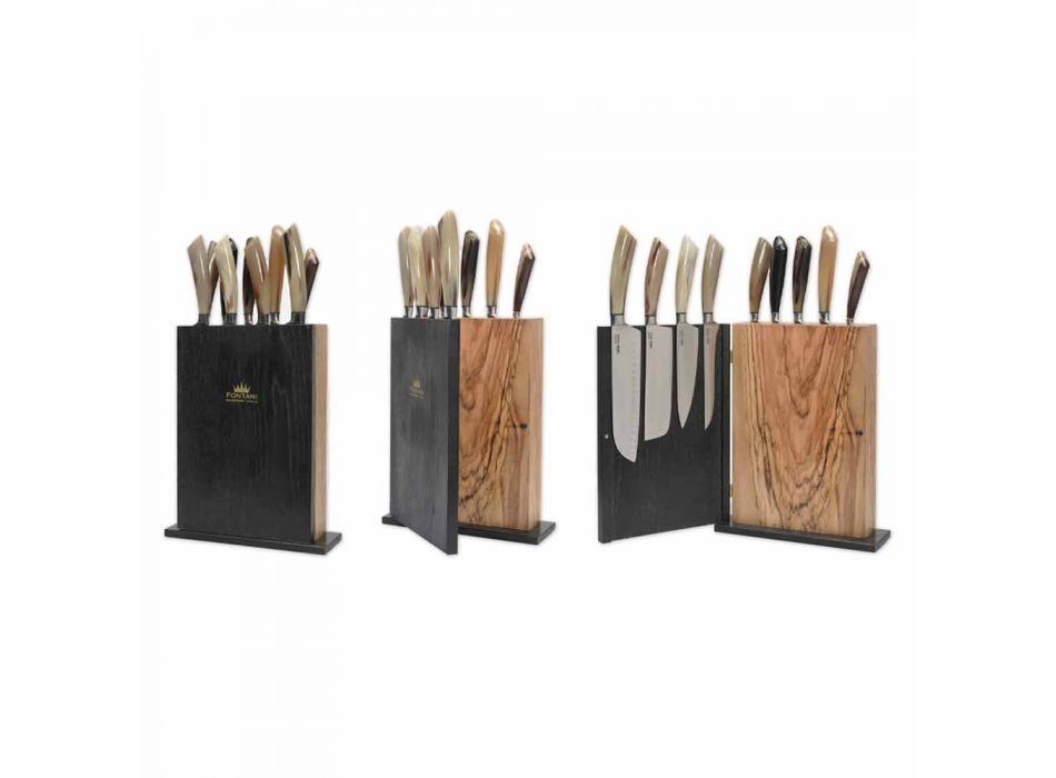 Blok magnetyczny z drewna z 9 nożami kuchennymi Made in Italy - Block