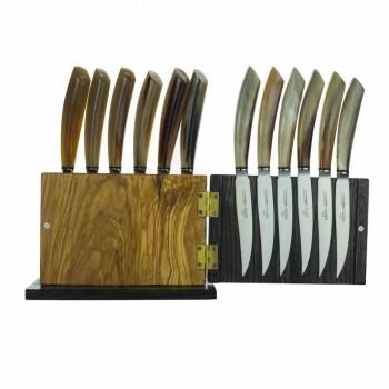 Blok magnetyczny z drewna oliwnego i kasztanowego, 12 sztuk Made in Italy - Block