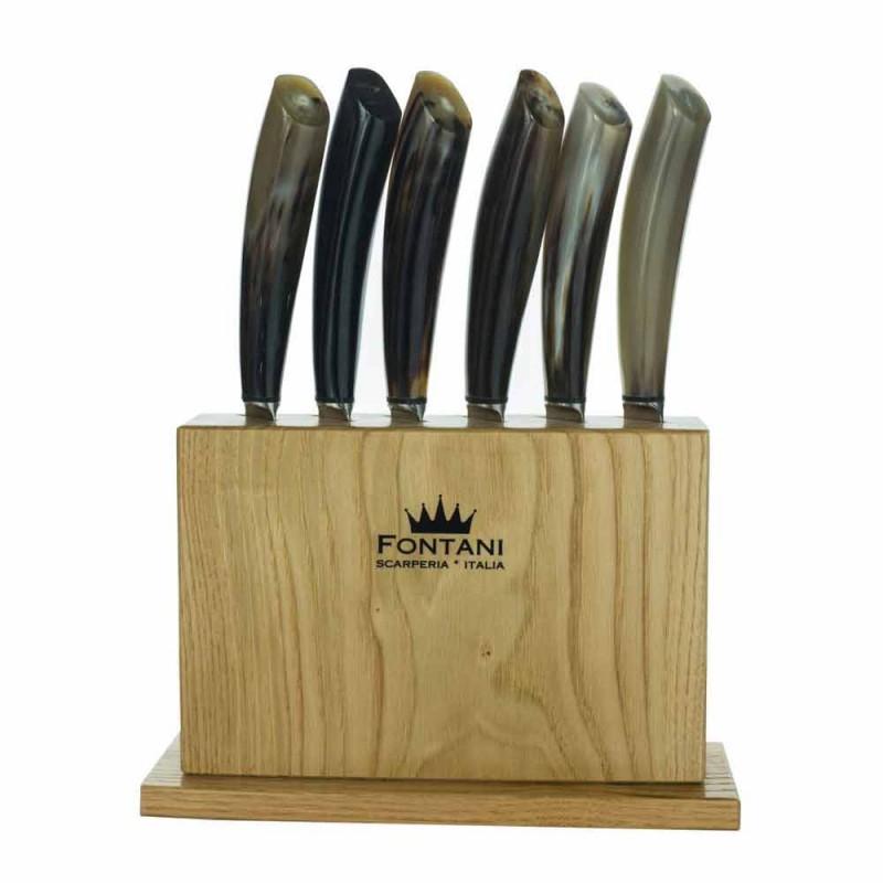 Blok z drewna oliwnego z 6 nożami do steków Made in Italy - Block