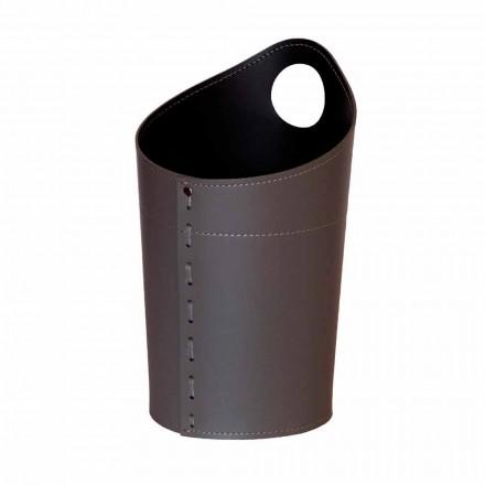 Kosz na odpady z recyklingu papieru w ręcznie robionej skórze Ambrogio