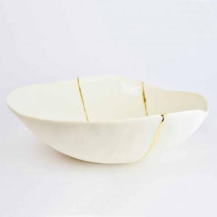 Miski z białej porcelany i złotych liści włoski luksusowy design - Cicatroro