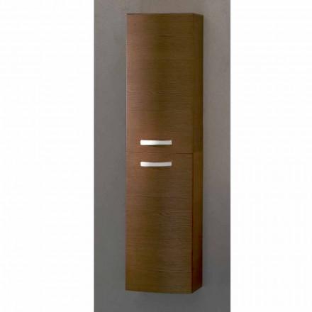 Gioia, 2-drzwiowa szafka łazienkowa wisząca z drewna dębowego, wyprodukowana we Włoszech