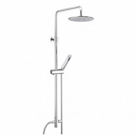 Okrągła kolumna prysznicowa z mosiądzu z prysznicem ręcznym Made in Italy - Amadeo