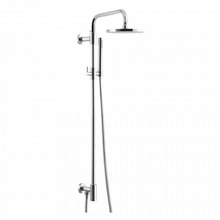 Kolumna prysznicowa z chromowanego mosiądzu ze stalową głowicą prysznicową Made in Italy - Daino