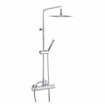 Kolumna prysznicowa z chromowanego mosiądzu z kwadratową głowicą prysznicową Made in Italy - Studio