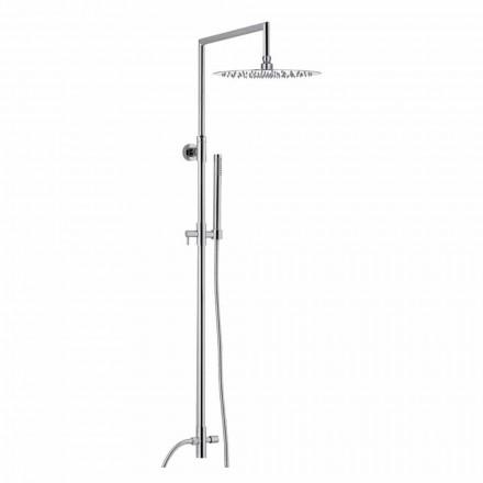 Kolumna prysznicowa z chromowanego mosiądzu z ultrasmukłą głowicą prysznicową Made in Italy - Primo
