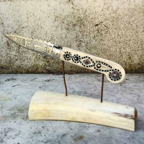 Antyczny, ręcznie robiony nóż Love z rogu i stali Made in Italy - Amour