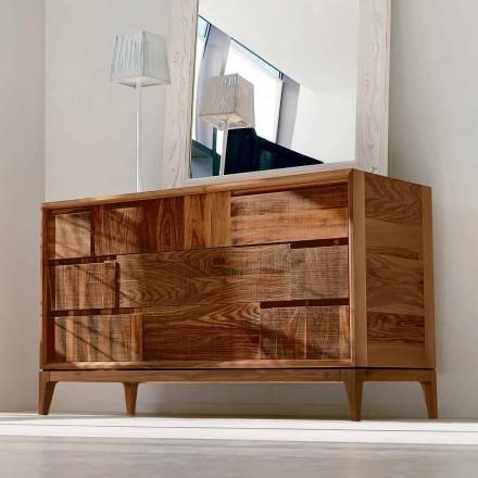 Komoda 3 szuflady nowoczesny design z litego orzecha, Nino