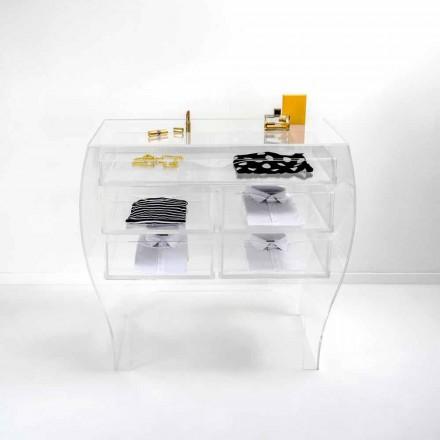 Komoda z 5 szufladami nowoczesny design z przezroczystą plexi Billy
