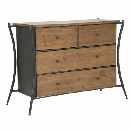 Zaprojektuj komodę z 5 szufladami z drewna jodłowego i żelaza - Doran