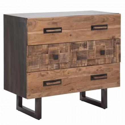 Komoda z drewna akacjowego i żelaza z 3 szufladami o nowoczesnym designie - szmaragd
