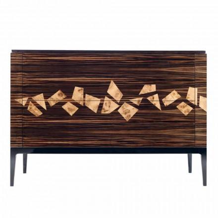 Kredens 4 szuflady z drewna hebanowego Grilli Zarafa made in Italy