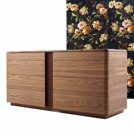 Komoda do sypialni z litego drewna i skóry design Grilli York